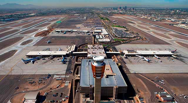 Phoenix Sky Harbor Airport has two terminals: Terminal 3 and Terminal 4.